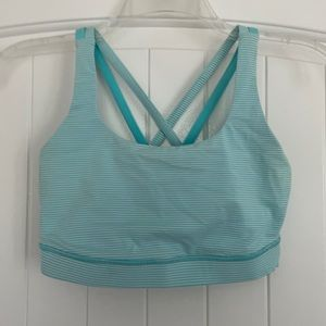 Lululemon sports bra — blue & white striped